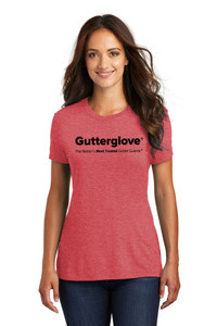 Gutterglove® FULL FRONT BLACK WORDMARK - Premium Ladies Tee - Red Frost