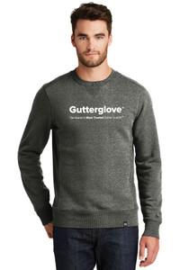 Gutterglove® FULL FRONT WHITE WORDMARK - New Era® French Terry Crew - Black Twist