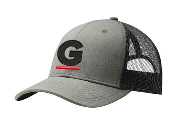 Gutterglove® EMBROIDERED CAP FRONT BLACK & RED G - Trucker Cap - Heather Grey / Black