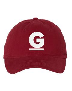 "Gutterglove® EMBROIDERED CAP FRONT WHITE G - ""Dad"" Cap - Cardinal"