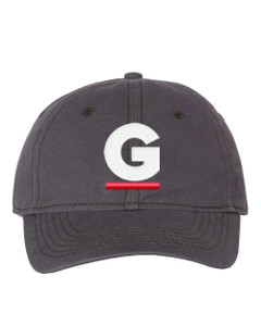 """Gutterglove® EMBROIDERED CAP FRONT WHITE & RED G - """"Dad"""" Cap - Charcoal"""