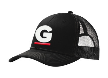 Gutterglove® EMBROIDERED CAP FRONT WHITE & RED G - Trucker Cap - Black