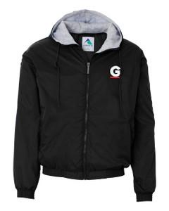 Gutterglove® EMBROIDERED FLC WHITE & RED G - Fleece-Lined Hooded Jacket - Black