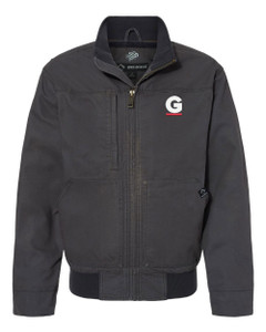 Gutterglove® EMBROIDERED FLC WHITE & RED G - DRI DUCK® Bomber Jacket - Charcoal