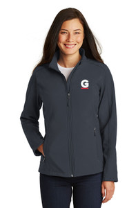 Gutterglove® EMBROIDERED FLC WHITE & RED G - Ladies Soft Shell Jacket - Grey