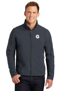 Gutterglove® EMBROIDERED FLC WHITE & RED G - TALL Unisex Soft Shell Jacket - Grey