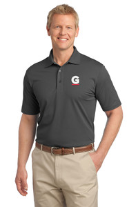 Gutterglove® EMBROIDERED FLC WHITE & RED G - TALL Unisex Polo - Dark Grey