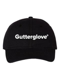 """Gutterglove® EMBROIDERED CAP FRONT WHITE WORDMARK - """"Dad"""" Cap - Black"""