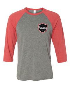Gutterglove® FLC DONERIGHT® - Premium Unisex Baseball Tee - Grey / Red Triblend