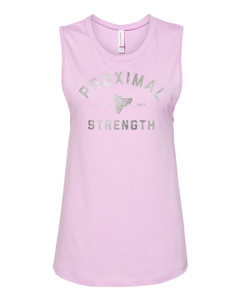 Proximal Strength SILVER FOIL LABEL Ladies Muscle Tank - Lilac