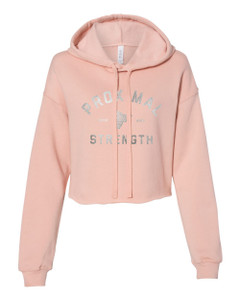 Proximal Strength SILVER FOIL LABEL Premium Cropped Hoodie - Peach