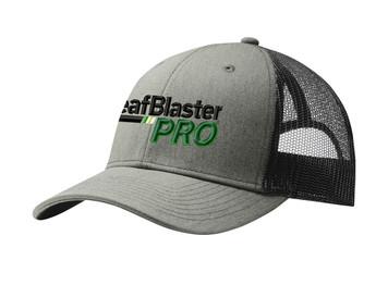 Gutterglove® EMBROIDERED BLACK LEAFBLASTER PRO® - Trucker Cap - Heather Grey / Black