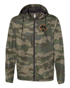 Brentsville Embroidered PAWPRINT Zippered Wind Breaker - Forest Camo