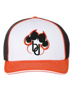 Brentsville PAWPRINT Richardson Premium Baseball Cap - White/Black/Orange