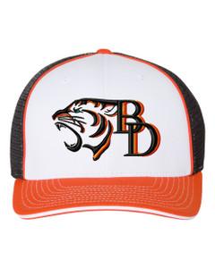 Brentsville TIGER-BD Richardson Premium Baseball Cap - White/Black/Orange