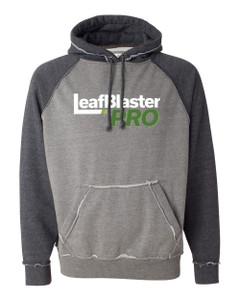 Gutterglove® FULL FRONT WHITE LEAFBLASTER - Vintage Unisex Hoodie - Grey / Charcoal Heather