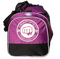 Purple duffle, front pouch with printed Mightyfist logo. On top of pouch, embroidered Mightyfist logo