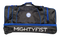 Side of black bag with embroidered Mightyfist logo and printed MIGHTYFIST wording