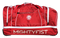 Side of red bag with embroidered Mightyfist logo and printed MIGHTYFIST wording