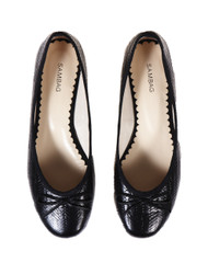 Sambag black patent cross leather ballet flats