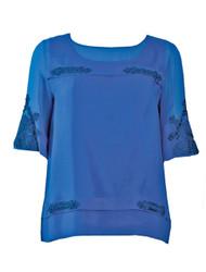 Lace trim silk blouse