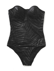 Midnight palm-fond body suit