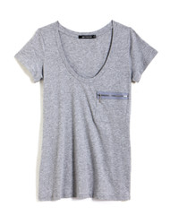 Grey tee with zip detail
