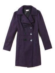 Plum woollen knit trench coat
