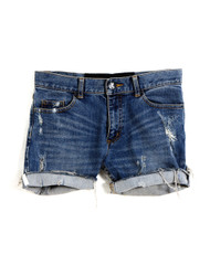 Worn and torn denim shorts