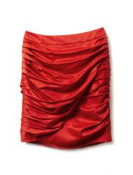Rouge crepe mini skirt
