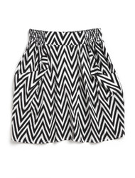 Geometric print pocketed skirt