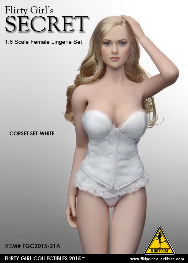 1:6 Flirty Girl Lady Tuxedo Lingerie Character Set with Head in Black #2015-15