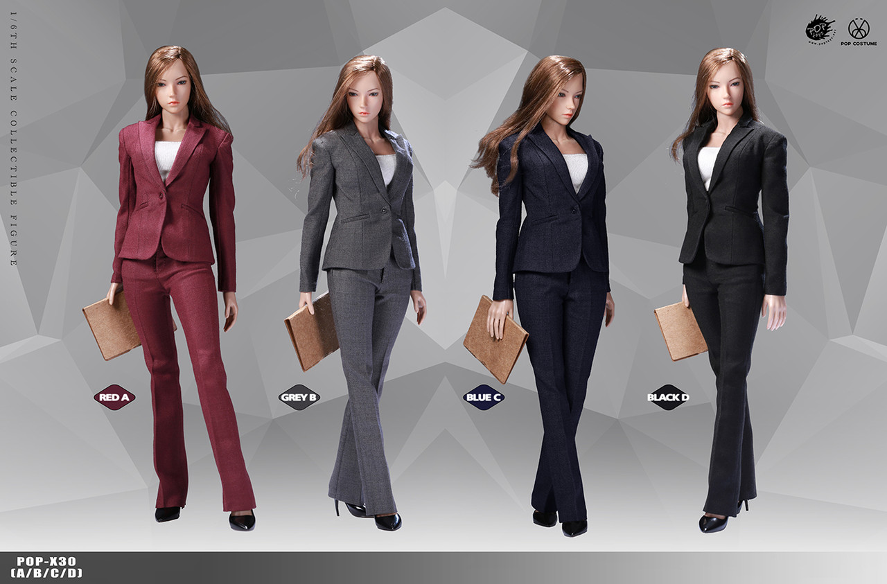 1//6 scale Office Lady Business BLACK Pants Suit Set for 12/'/' Female Figure Body