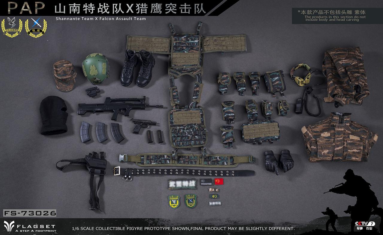 FLAGSET FS 73026 1//6 PAP Shannante Team X Falcon Assault 92 Pistol /& Holster