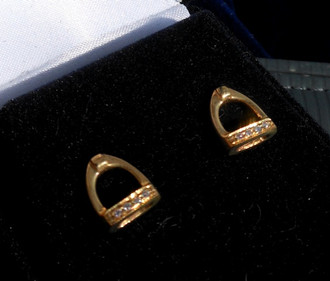 Quaker Ridge 14K Yellow Gold & Diamond Tiny Stirrup Earrings