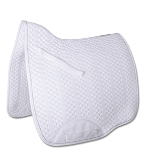 Lugano Dressage Saddle Pad in White w/Silver Piping