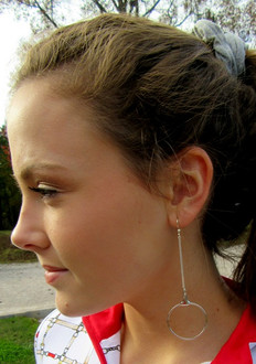 Sterling Drop Bit Hoop Earrings