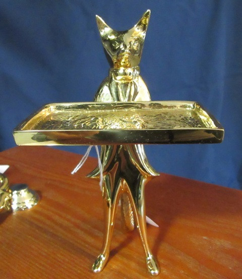 Solid Brass Standing Fox Card Holder