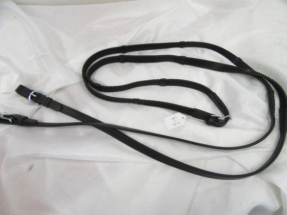 "5/8"" Soft Pimple Grip Reins w/Leather Ends & Stops; Blk"
