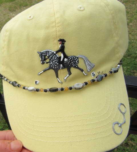 Hand Painted Caps w/Bead Embellishment in Pale Yellow