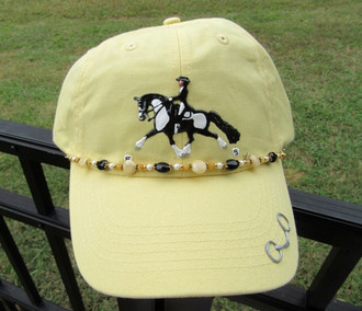 Hand Painted Embellished Cap; Pale Yellow; Barock Pinto