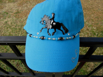 Hand Painted Embellished Cap; Fresian; turquoise cap