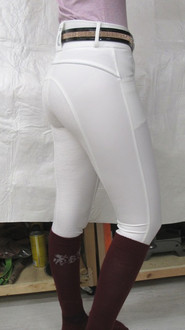 Aubrey breech w/full silicone seat in white