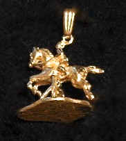 14K Gold Jumper Pendant with moving base