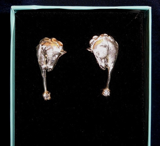 Bow River Brushed Sterling Horsehead Earrings w/CZ