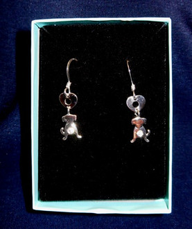 Bow River Sterling Dog Heart Hanging Earrings