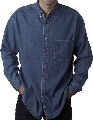1d6e98a9003 ... UltraClub Cypress Denim Shirt 3XL - 6XL Dark Blue  368. Loading zoom