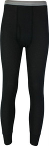 Black Thermal Long Johns Underwear Pants