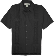 big guy clothes Guayabera Black 2X