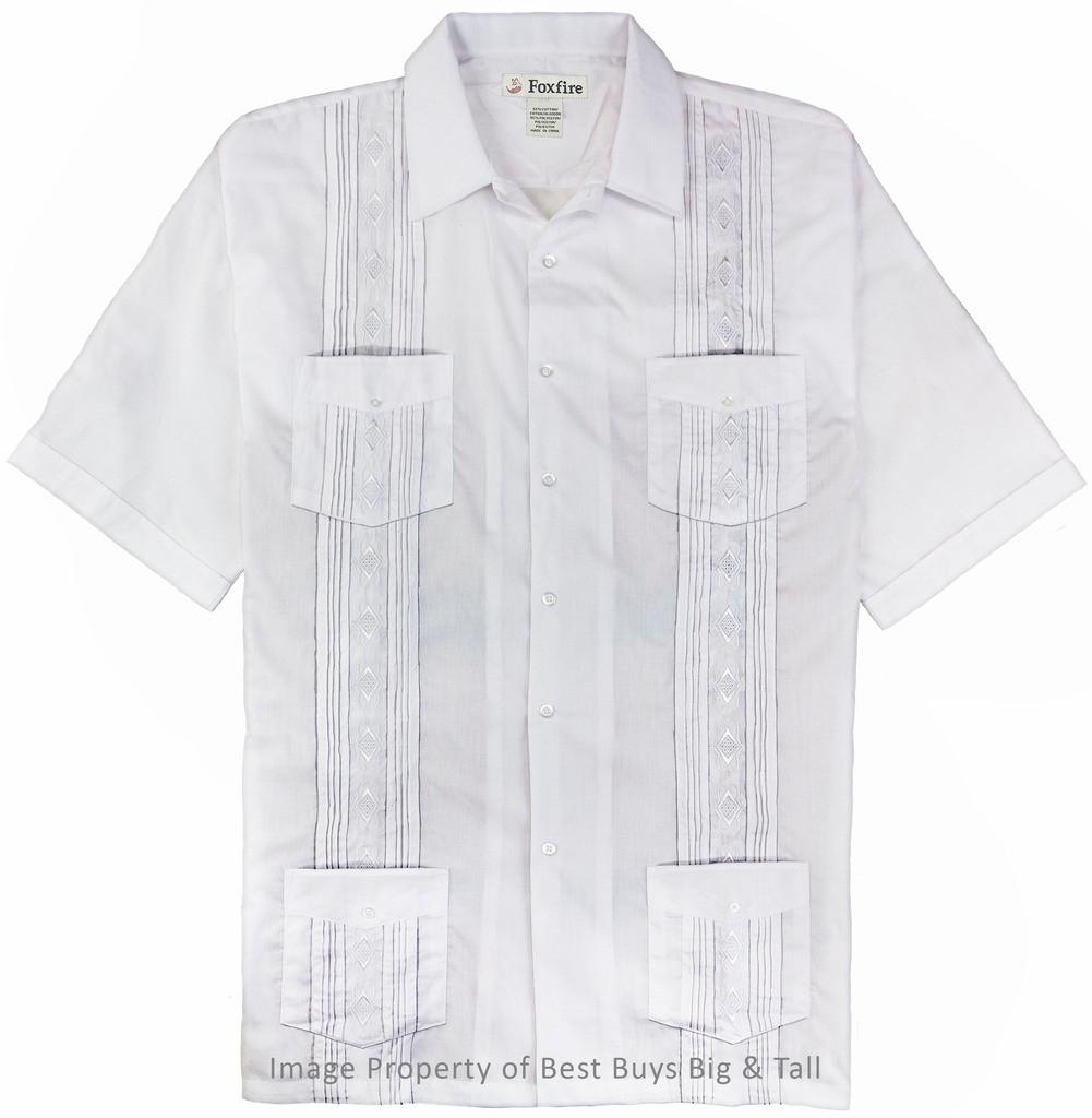 2XL 6XLT Foxfire 2XLT Big and Tall Men/'s Guayabera Short Sleeve Shirt 8XL